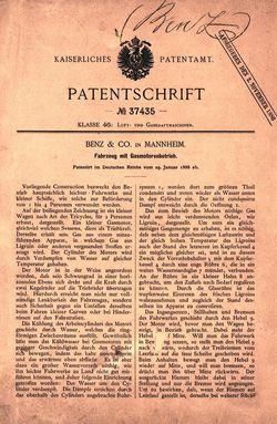 Så här ser det ut, patentet för personbil från Carl Benz från 29 januari 1886.