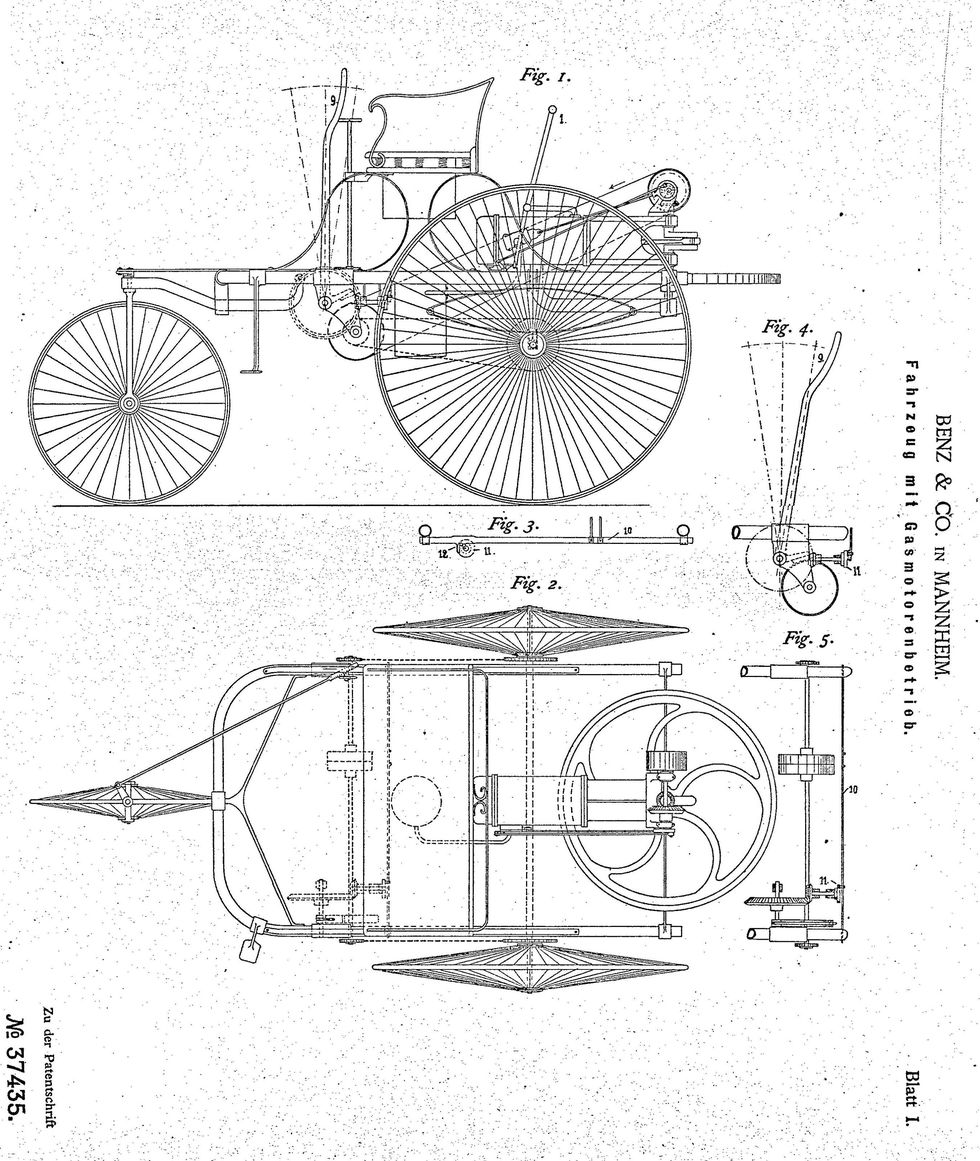Patentritningen från 1886 visar en trehjulig bil, Carl Benz